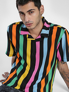 KOOVS Cuban Collar Vertical Stripe Shirt