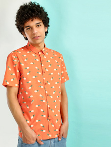 KOOVS Pineapple Print Casual Shirt