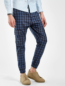KOOVS Tartan Check Slim Fit Trousers