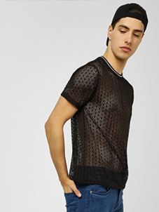 KOOVS Chevron Lace T-Shirt