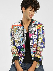 KOOVS Cartoon Strip Print Bomber Jacket