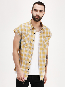 KOOVS Check Frayed Edges Shirt