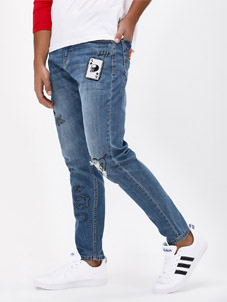 K Denim Washed Tapered Jean With Badges