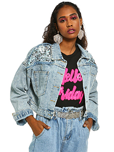 K Denim KOOVS Distressed Sequin Crop Denim Jacket