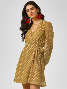 KOOVS Polka Wrap Skater Dress
