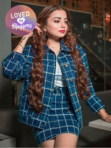 Lasula Windowpane Check Denim Jacket