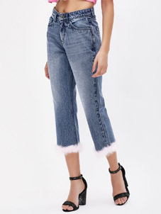 K Denim Fur Hem Cropped Jeans