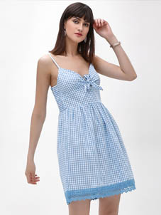 KOOVS Gingham Lace Trim Dress
