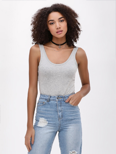 KOOVS Scoop Neck Strappy Bodysuit
