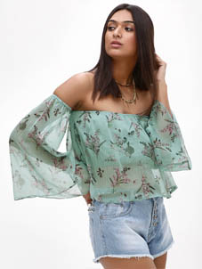 KOOVS Printed Flare Sleeve Top