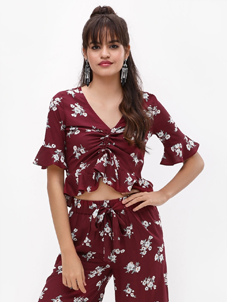 KOOVS Floral Print Ruched Top