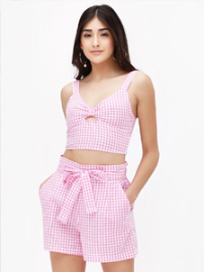 KOOVS Gingham Bow Crop Top