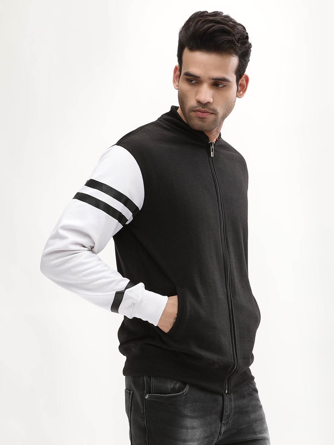 Blotch Black Bomber Jacket With Contrast Striped Sleeves 1