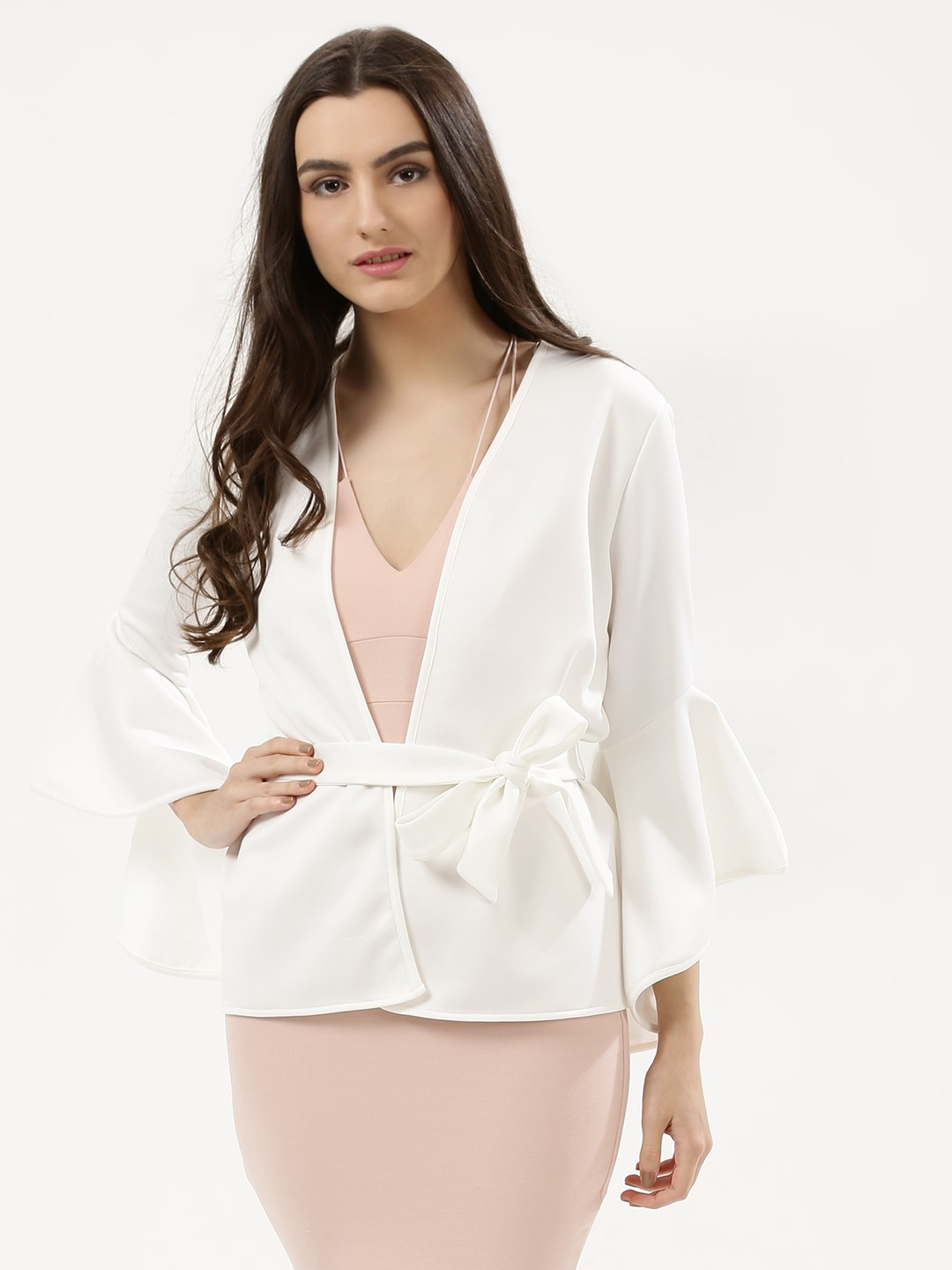 KOOVS White Fluted Sleeve Belted Jacket 1