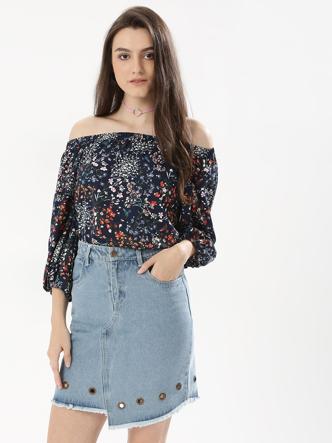Cover Story Multi Off Shoulder Print Top 1