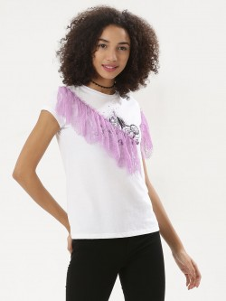 Koovs X Disney Princess Print Lace T- Shirt
