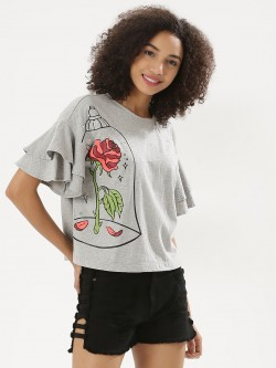 Koovs X Disney Princess Print Ruffle Sleeve Top