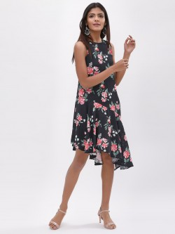 KOOVS Printed Hi Low Dress