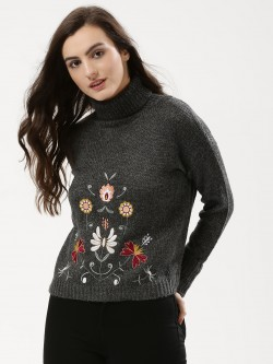 Urban Bliss Floral Embroidered Roll Neck Jumper