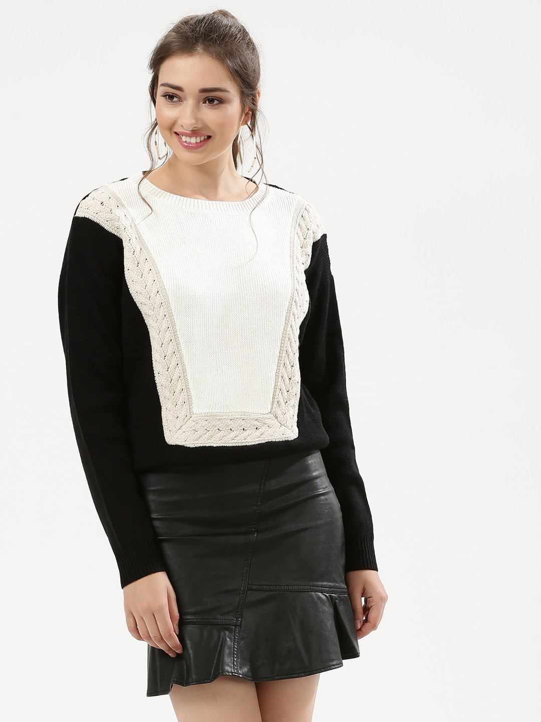 Urban Bliss WHITE/BLACK Nana Cable Bib Jumper 1