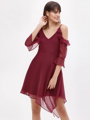 Koovs Cold Shoulder Asymmetric Dress offer