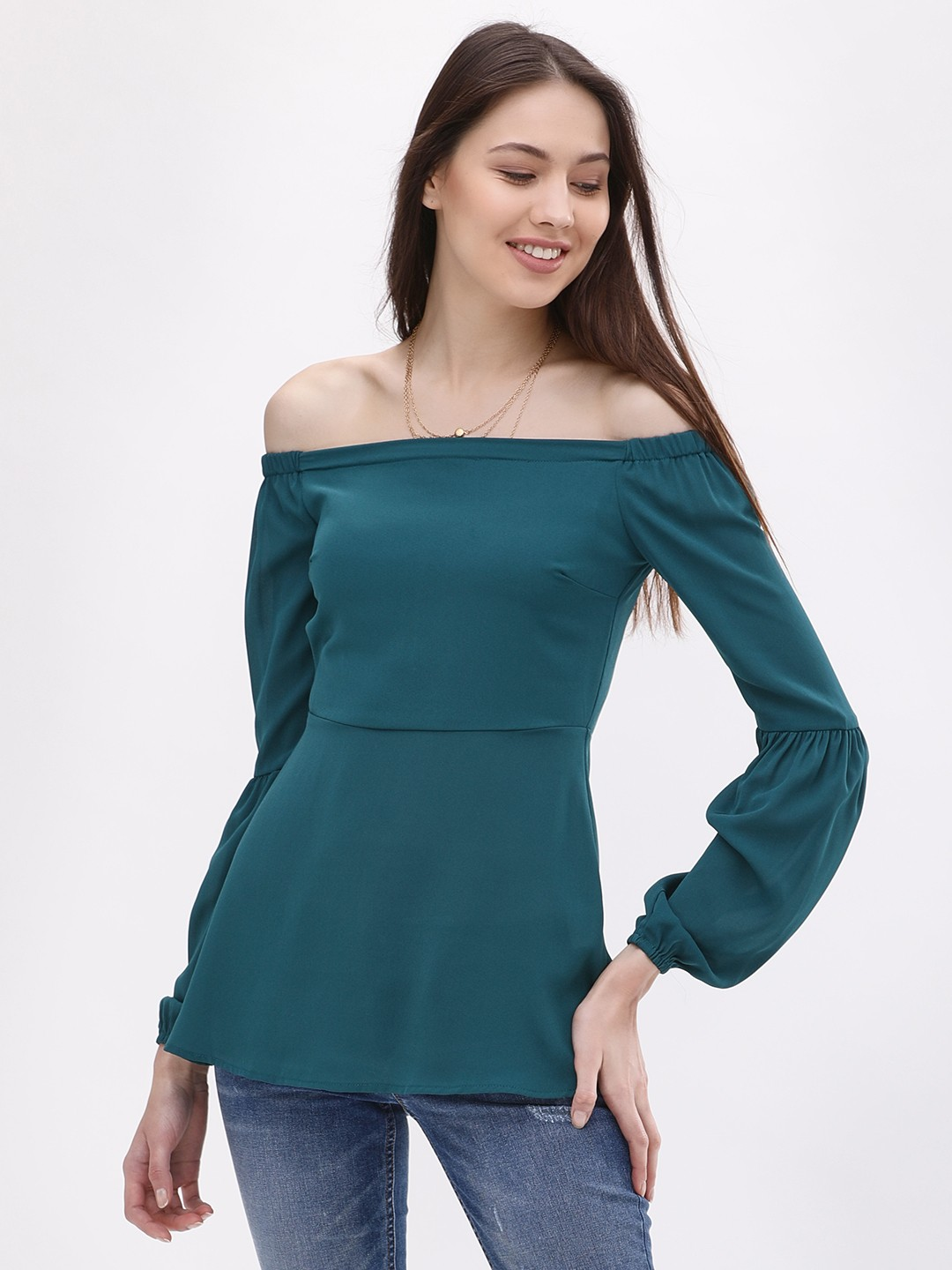 KOOVS Green Blouson Sleeve Off Shoulder Top 1
