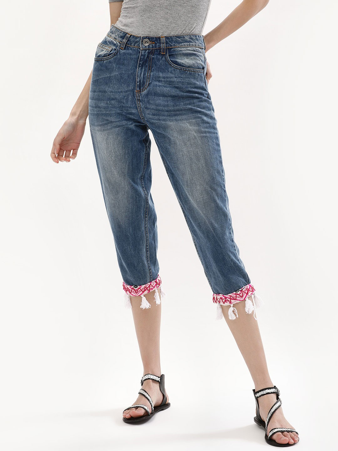 KOOVS Blue Embroidered Cropped Denim With Tassel 1