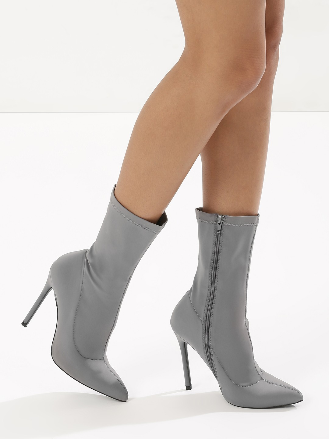 Truffle Collection Grey Lycra High Ankle Stiletto Boots 1