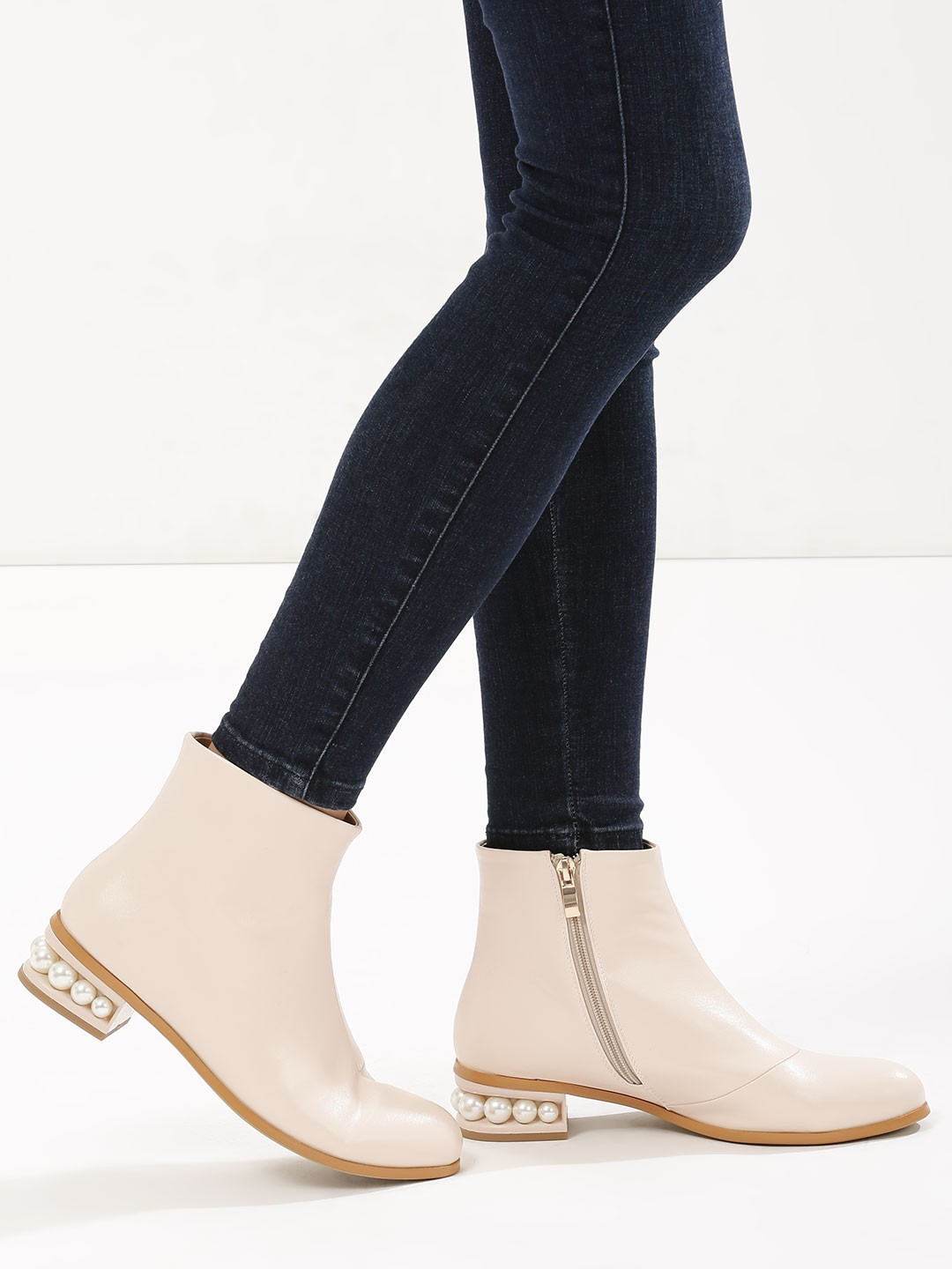 Velvet Army Nude Boots With Pearl Embellished Heels 1