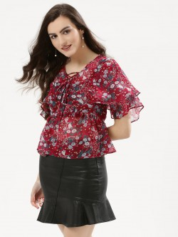 Urban Bliss Lattice Neck Ruffle Blouse