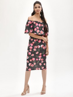 KOOVS Printed Off Shoulder Midi Dress