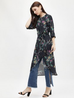 KOOVS Tie Front Asymmetric Dress