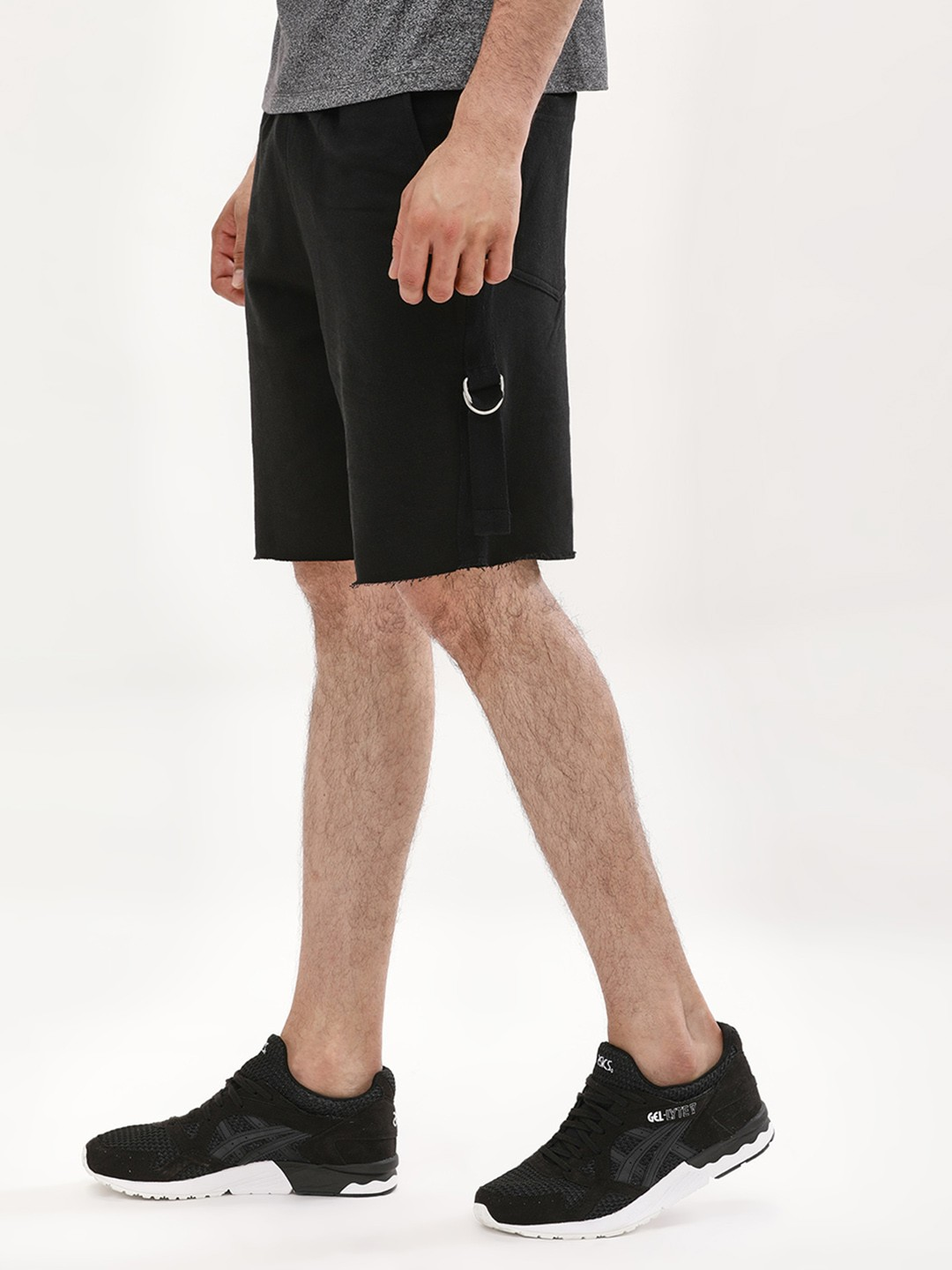 KOOVS Black Drop Crotch Tape Trim Shorts 1