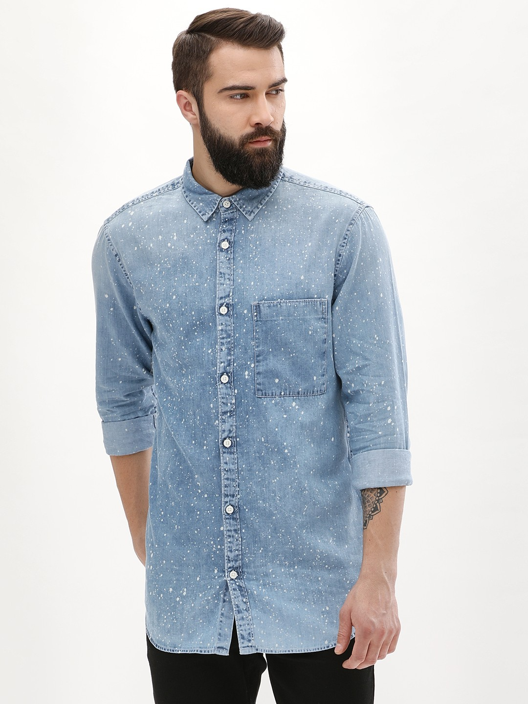 New Look PALE BLUE Paint Splatter Denim Shirt 1