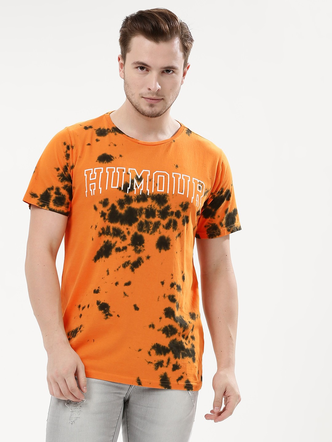 Adamo London Orange Printed Tie Dye T-Shirt 1