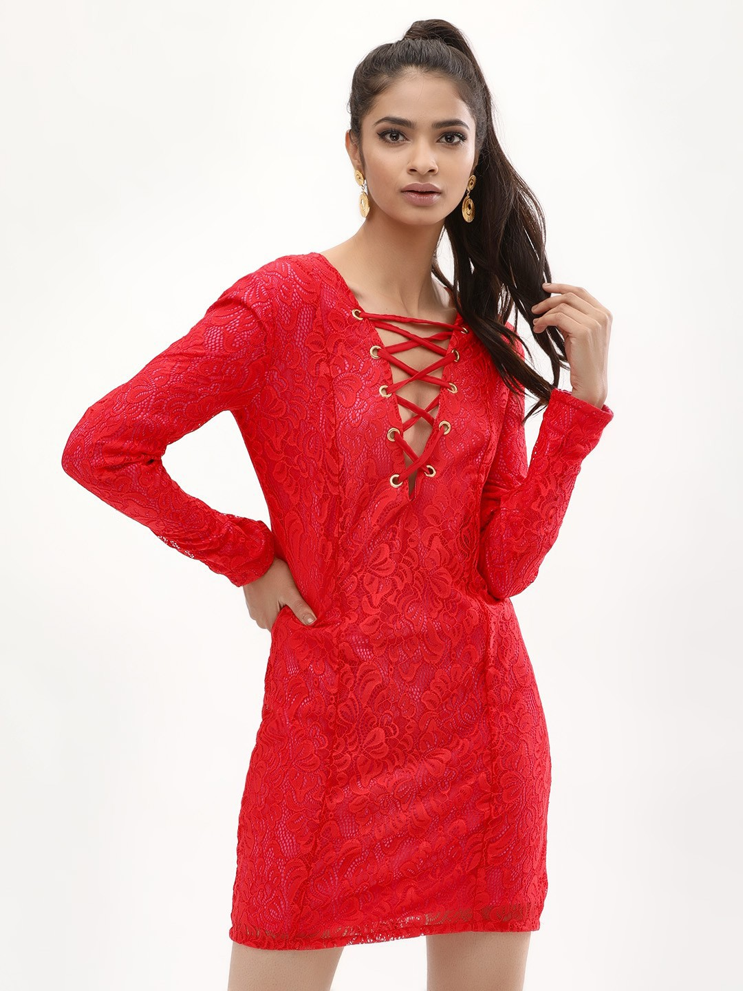 KOOVS Red/Pink Lace Dress With Tie Up 1