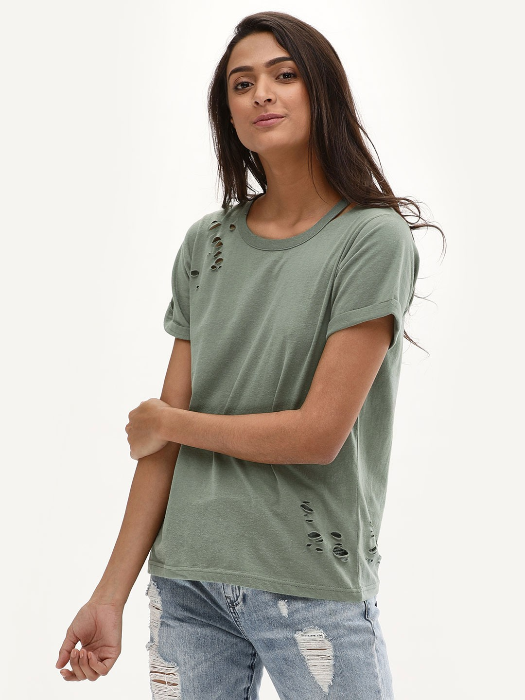 New Look Light Khaki Slash Neck Nibbled T-Shirt 1