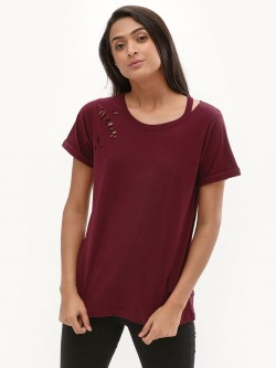 New Look Slash Neck Nibbled T-Shirt