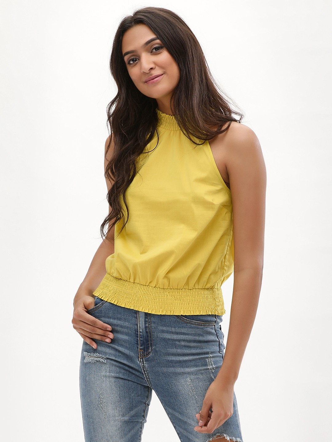 New Look mid yellow Smocked Top 1