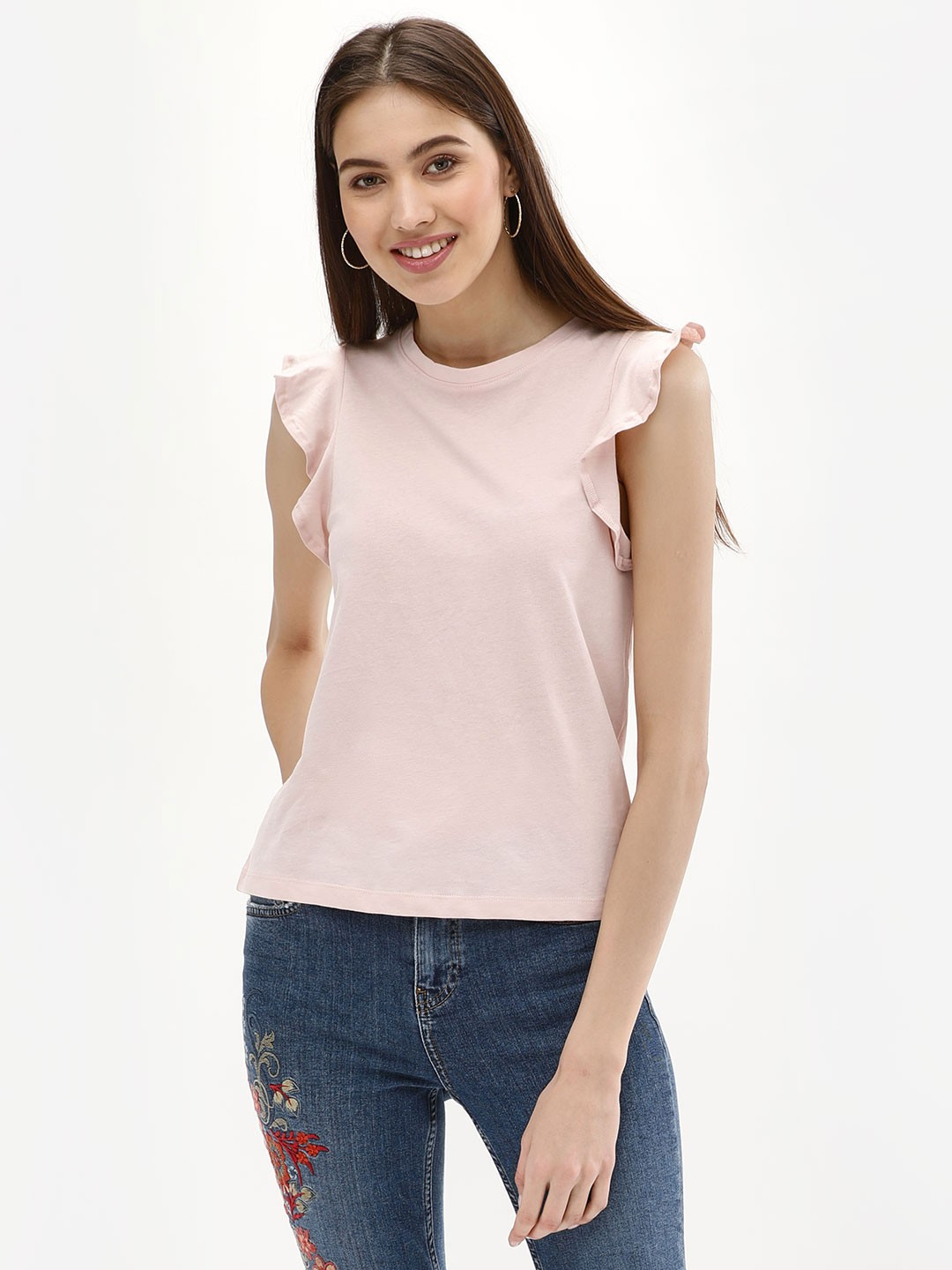 New Look Light Pink Frill Shoulder Shell T-Shirt 1