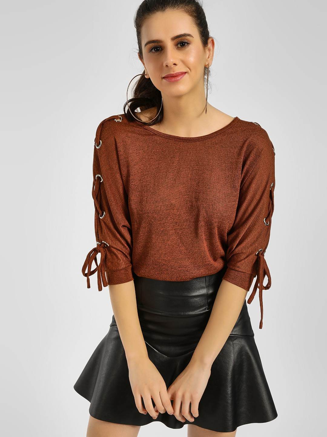 New Look Light Brown Eyelet Batwing Sleeve T-Shirt 1