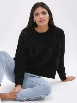 New Look Velvet Lace Patch Pullover