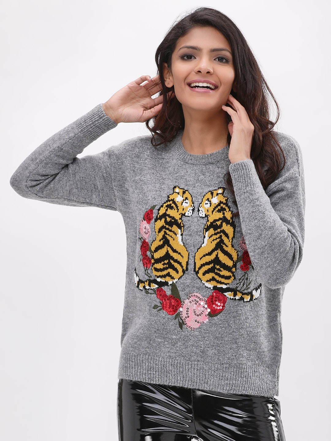 New Look MID GREY Tiger Motif Jumper 1