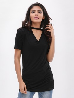 New Look Choker Neck Longline T-Shirt