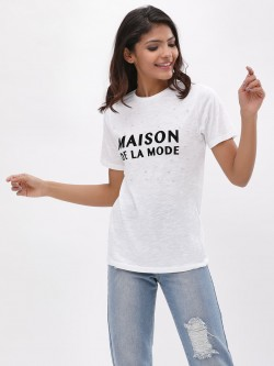 New Look Maison De La Mode Pearl Embellished T-Shirt