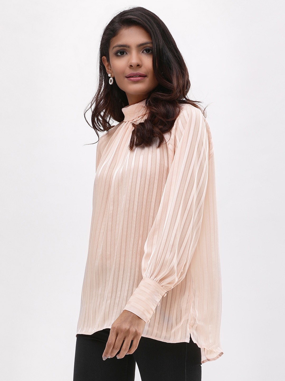 New Look Nude Shadow Striped Hi-Neck Shell Top 1