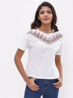 New Look Embroidered Tassel Top