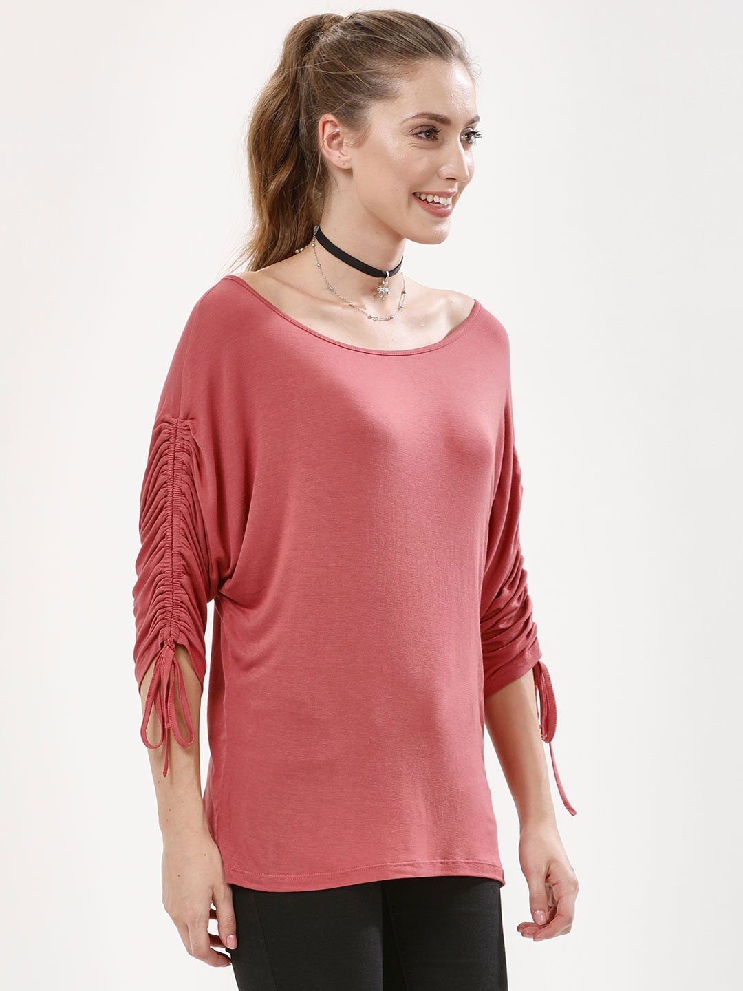 Femella Dark Blush Ruched Sleeve Top 1