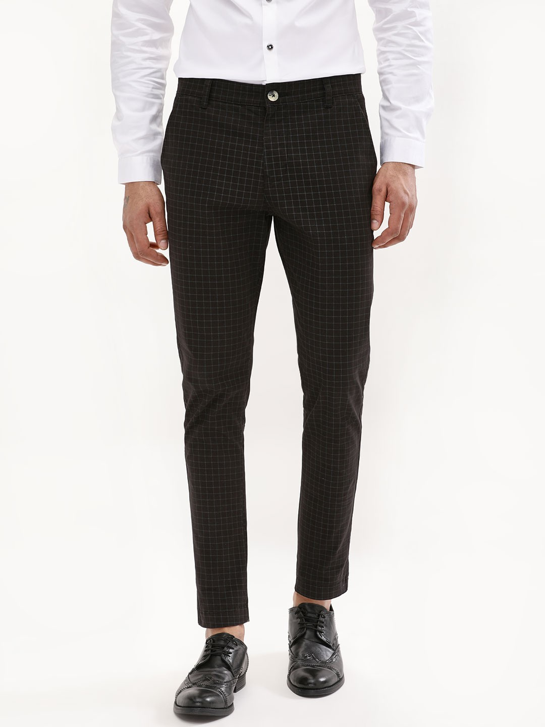 official top-rated fashion wide selection of designs Buy KOOVS Black Grid Check Skinny Cropped Trousers for Men ...