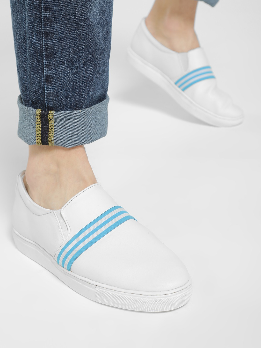 Tread White/Blue Contrast Elastic Band Casual Shoes 1